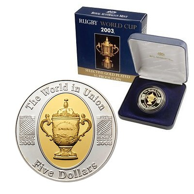 Australia $5 Proof 2003 Rugby World Cup