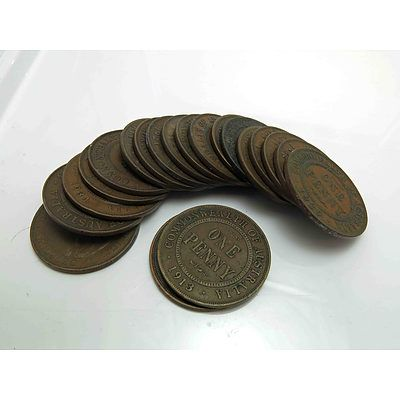Australia: Collection of George V (1911-1936) Pennies (X20)