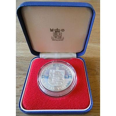 Guernsey: Silver Roof 25P Qe Li Royal Visit
