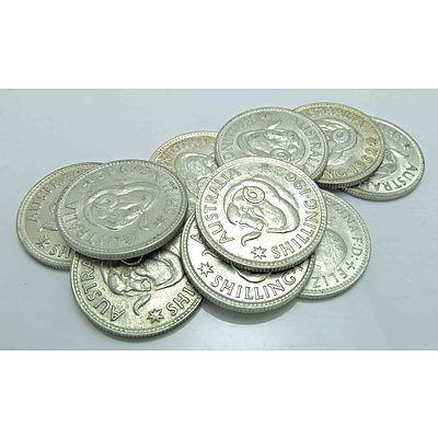 Australia: 1962 Silver Shillings (X10)