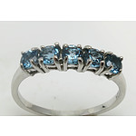 Sterling Silver Dress Ring: Five Blue Topaz