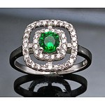 Sterling Silver Ring : Emerald-Green Cz With White Czs Set To Double Halo