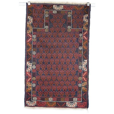 Afghan Baluch Hand Knotted Wool Pile Prayer Rug