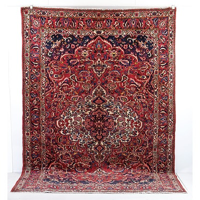 Vintage Persian Lilian Hand Knotted Wool Pile Carpet