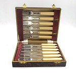 An English Sheffield Silver Plated Boxed Fish Knife and Fork Set for Six