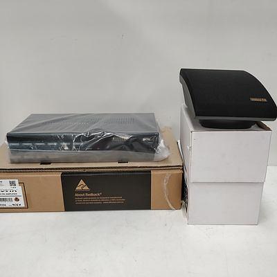 Bulk Lot of Assorted AV Equipment & Accessories - Redback Amp, InterM Speakers, Australia Monitor controller