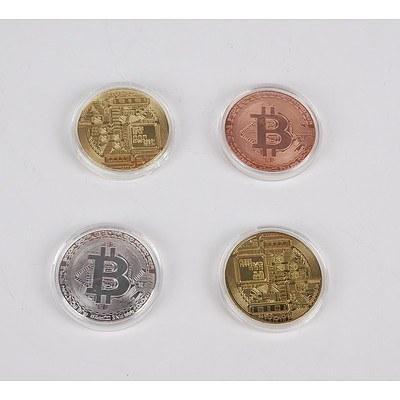 Four Cased Replica Bit Coins