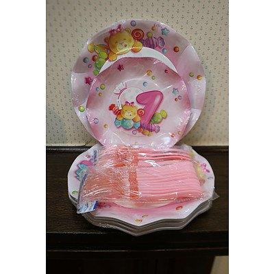 1st birthday paper plates & cutlery III