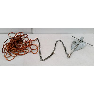 Small Metal Boat Anchor, with Chain and Rope
