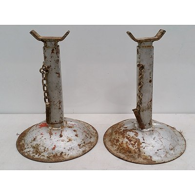 Two Metal Locking Pin Jack Stands