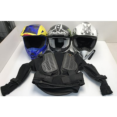 Motorbike Helmets Including Fox and Protective Wear