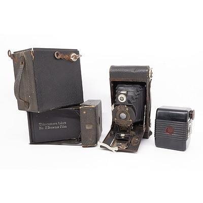 Three Vintage Kodak Cameras, including Kodak No.2 Folding Autographic Brownie, a Kodak Hawkeye No. 2 Model C and More