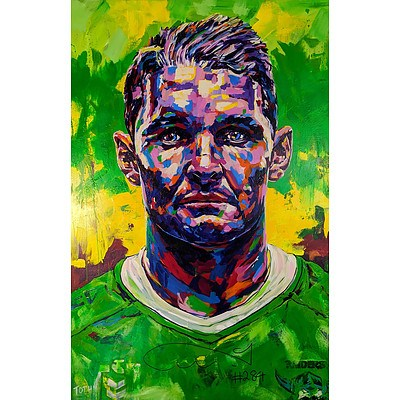 Signed Portrait of Canberra Raiders captain Jarrod Croker by Christopher Paul Tóth