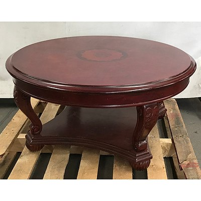 Round Wooden Table in Dark Mahogany Colour