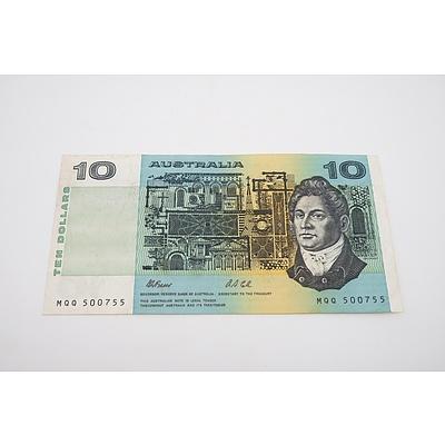 1991 Australian Ten Dollar Banknote Fraser/Cole