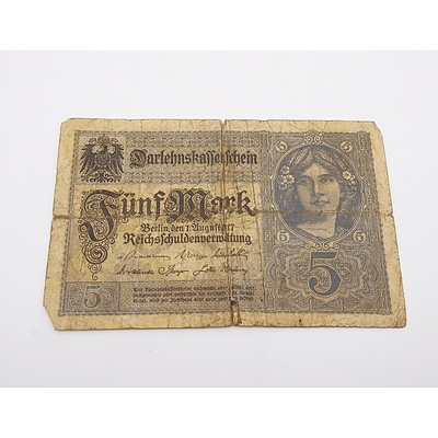 1917 German 5 Funf Mark Banknote