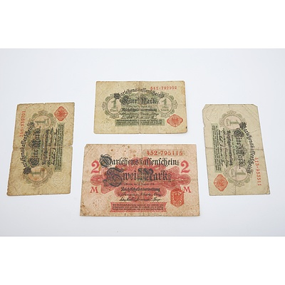 Four German 1914 Banknotes
