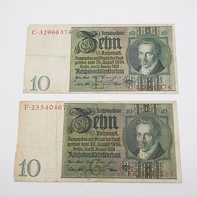 2 x 1929 German 10 Zehn Mark Banknotes