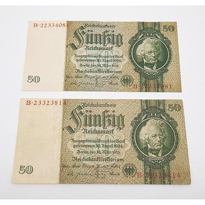 2 x 1933 German 50 Fiinfig Mark Banknotes