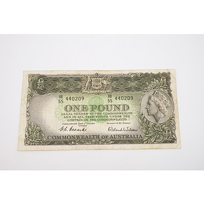 1953 Australian One Pound Banknote - Coombs/Wilson