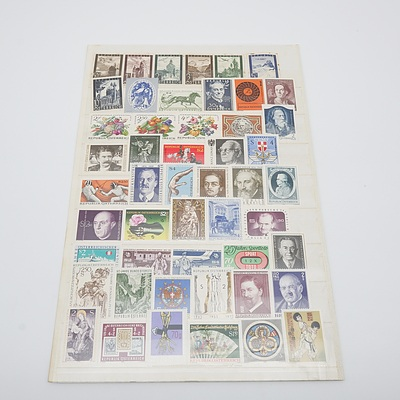 Two Pages of Austrian Stamps, Circa 1970's