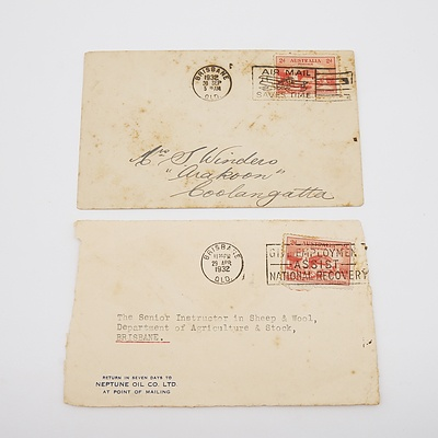 2 x 1932 Postal Covers with 2d Sydney Harbour Bridge Stamps