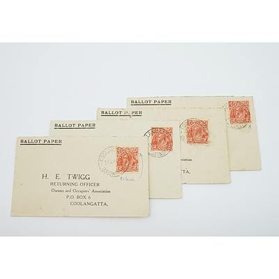 4 x 1933 Postal Covers KGV Two Pence Stamps