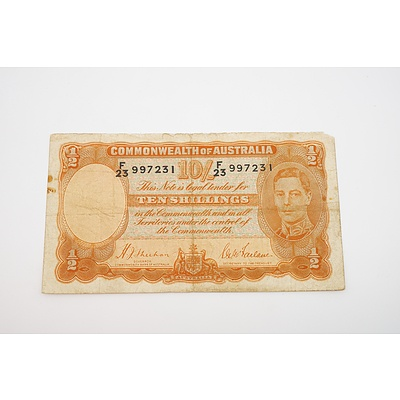 1939 Australian Ten Shillings Banknote - Sheehan/MacFarlane