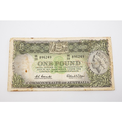 1961 Australian One Pound Banknote - Coombs/Wilson