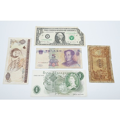 1999 China 5 Yuan Banknote, 2003 E US One Dollar Banknote, 1955 England QEII One Pound Banknote and More