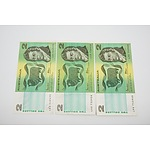 3 x 1985 Australian Two Dollar Banknotes