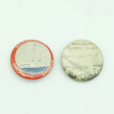 2 x 1920 Semaphore Patriotic Sports Badges