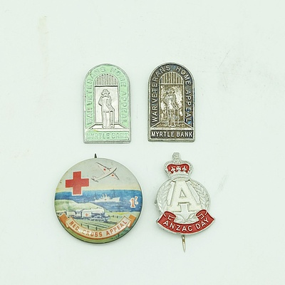 Lot of 4 Badges - ANZAC, Red Cross & War Veterans