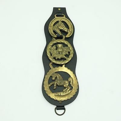 3 x Scottish Horse Brasses on Leather Martingale