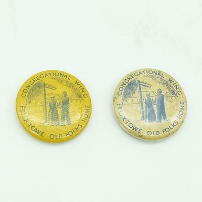 2 x WW1 Felixtowe Old Folks Home Badges