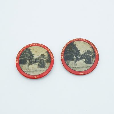 2 x Circa 1915 Methodist Hospital Grounds Badges