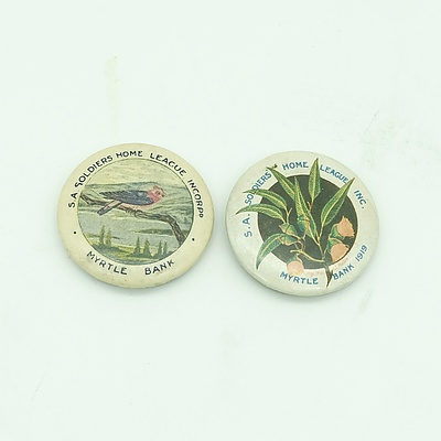 1917 & 1919 SA Soldiers Home League, Myrtle Bank Beach Fundraising Badges