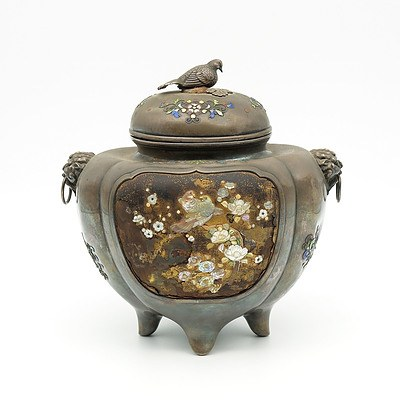 Japanese Shibayama Inlaid, Lacquer and Enamel Decorated Silver Koro, Meiji Period (1868-1912)