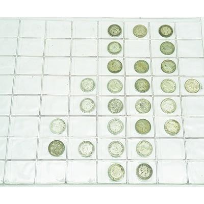 Group of 79 Australian Shillings, Six Pence, Three Pence