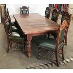 Late Victorian Kauri Pine and Blackwood Extension Dining Table with Eight Blackwood Green Vinyl Upholstered Chairs
