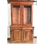 Victorian Mahogany Flame Mahogany Bookcase, circa 1890