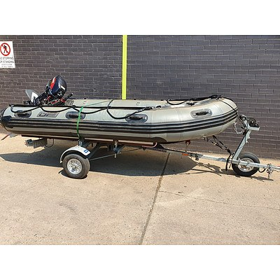 JP Marine 3.8M Inflatable Boat and Trailer with Tohatsu 18HP Outboard