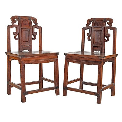 Pair of Chinese Elm/Cyprus Chairs