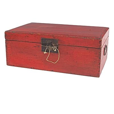 Chinese Red Lacquered Wood Trunk