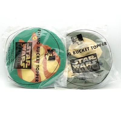 Two 1999 Star Wars Episode I The Phantom Menace KFC Flying Bucket Topper