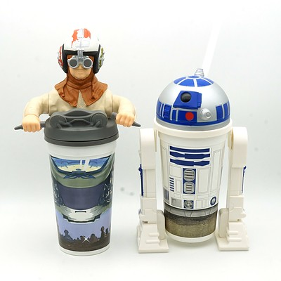 Two 1999 Star Wars Episode I The Phantom Menace Promotional Cups, Including R2-D2 and Anakin