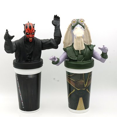 Two 1999 Star Wars Episode I The Phantom Menace Promotional Cups, Including Darth Maul and Capt Tarpals