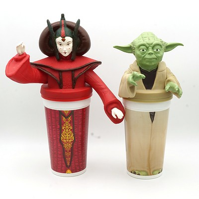 Two 1999 Star Wars Episode I The Phantom Menace Promotional Cups, Including Yoda and Queen Amidala