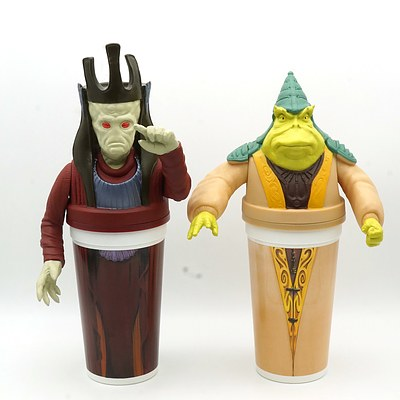 Two 1999 Star Wars Episode I The Phantom Menace Promotional Cups, Including Nute Gunray and Boss Nass