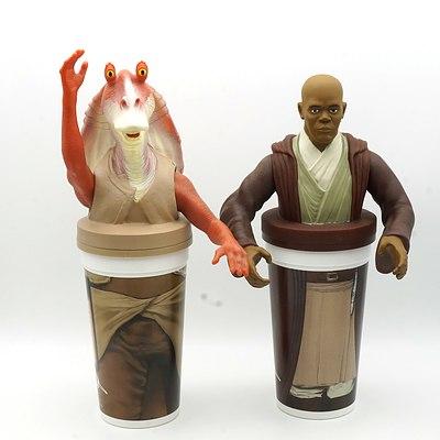 Two 1999 Star Wars Episode I The Phantom Menace Promotional Cups, Including Mace Windu and Jar Jar